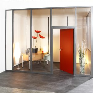 Wall fire - fire rated partition -cloison coupe feu-Cloisons coupe feu-hoyez-coupe-feu-HF10-transparente-ossature-aluminium-grise
